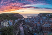 Staithes- tiny UK fishing village at dawn