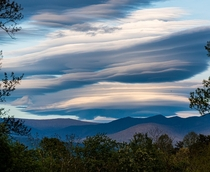 Standing Lenticular Clouds over Western North Carolina near Asheville  x