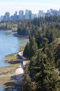 Stanley Park and downtown Vancouver from the Lions Gate Bridge