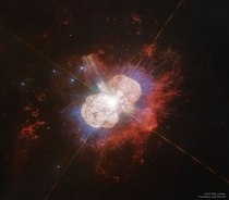 Star Eta Carinae the only star currently thought to emmit natural laser light is  times more massive than our Sun and located in the keyhole nebula Credit NASAESAHubble