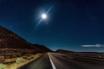 Star filled sky amp moon lit road at Grand Canyon National Park