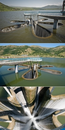 Star-shaped spillway at Kechut Reservoir Armenia