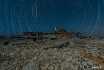 Star Trail on Gunkanjima the Abandoned Island in Japan