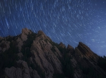 Star Trails above the Flatirons Colorado
