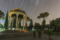 Star trails above the Tomb of Hafez one of Irans greatest poets in Shiraz Iran