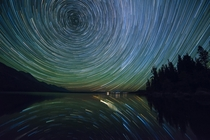 Star Trails over Jenny Lake - Grand Teton National Park