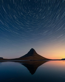 Star trails over Kirkjufell mountain Iceland