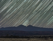 Star Trails over Mt Lassen in Northern California
