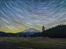 Star Trails over Mt Shasta in Northern California