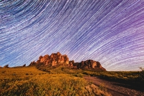 Star Trails over Superstition Mountains