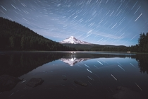 Star Trails Over Trillium Lake