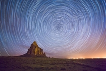 Star trails Shiprock New Mexico