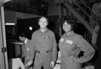 Star Treks Nichelle Nichols with Apollo  moonwalker Alan Bean at NASAs Johnson Space Center in Texas March