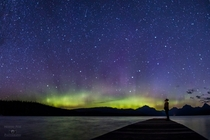 Staring at the Aurora Borealis over Glacier National Park Montana
