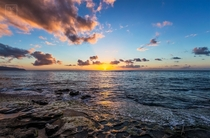 Staring Into The Sun - Sunset on Laniakea beach in Oahu Hawaii