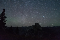 Starry sky over Half Dome Yosemite National Park