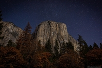 Stars and Climbers lights illuminate the face of El Capitan in Yosemite National Park