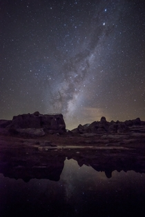 Stars and Ice - Milky Way reflections off the ice lake at Kura Tawhiti Limestone Tors Canterbury New Zealand