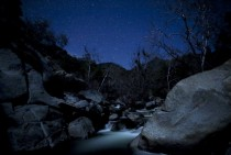 Stars over Kaweah River in Sequoia National Park