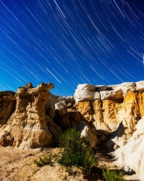 Stars over the moonlit Paint Mines east of Colorado Springs