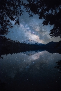 Stars reflecting in Lost Lake OR on a clear moonless night OC  ross_schram