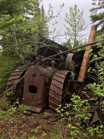 Steam Powered Tractor at an Abandoned Gold Mine in Northern Ontario