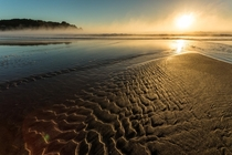 Steam rises from the ocean during sunrise Hot Water Beach Coromandel Peninsula New Zealand