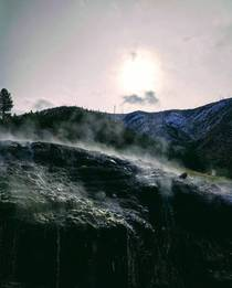 Steam rising from hot springs near Garden Valley Idaho