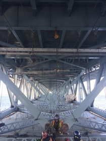 Steel repairs being performed on the Marine Parkway Bridge in NY