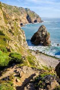 Steep cliffs and a gorilla-shaped sea stack - Cabo da Roca Portugal