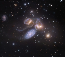 Stephans Quintet - Four of these five galaxies are locked in a cosmic dance of repeated close encounters taking place some  million light-years away