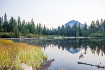 Still sunrise over Mirror Lake and Mount Hood Zigzag Ranger District Mount Hood National Forest Oregon