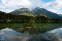 Still waters at Hintersee in Bavaria Germany