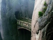 Stone bridge between  cliffs Huangshan Bridge - China