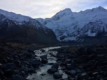 Stopped hear to listen to the cracking and thundering of small avalanches in Hooker Valley New Zealand