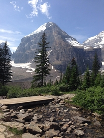 Stopping for a rest on the Plain of Six Glaciers trail