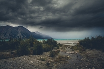 Storm brewing over Kluane Lake Yukon