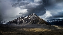 Storm Brewing over Tasman Glacier and Novara Peak New Zealand