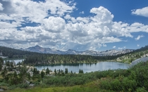 Storm clouds over Sallie Keyes Lakes in Californias Sierra Nevada range