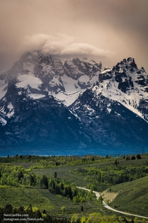 Storm clouds roll over the Grand Teton Wyoming USA