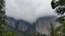 Storm clouds sitting on El Capitan yesterday