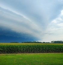 Storm front moving over my rural Indiana cornfield