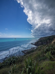 Storm front over Muriwai beach New Zealand