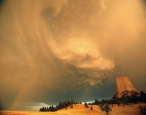 Storm over Devils Tower Wyoming  photo Peter Scott Barta