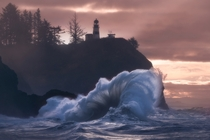 Storm surge strikes the Southern Washington coast Cape Dissapointment WA