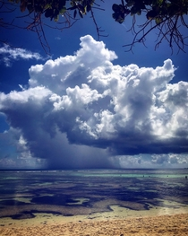 Storm watching from Anse Source Dargent in La Digue Seychelles