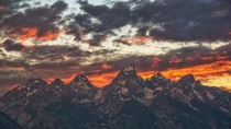 Storms clear Grand Teton National Park Wyoming US giving way to a beautiful sunset