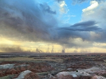 Storms moving across the Painted Desert in Petrified Forest National Park Arizona