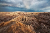 Stormy afterglow in Badlands National Park South Dakota