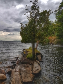 Stormy fall day on the Big Rideau Lake Ontario Canada  OC